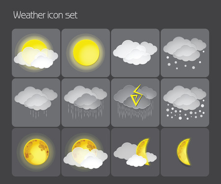 snow storm: Vector set of weather icons on a dark background. Cloudy, fair weather, rain, snow, storm, day and night.