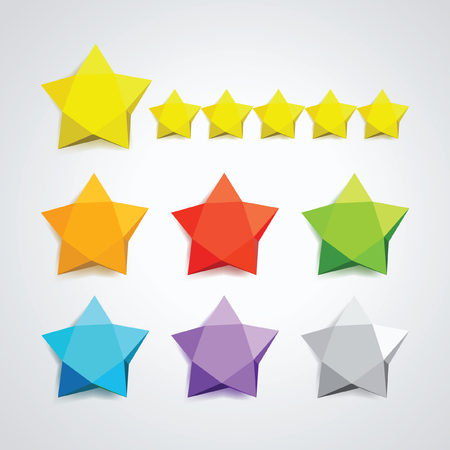 yellow star: Seven vector icons colored stars for your design. Star folded paper on a transparent background. Illustration