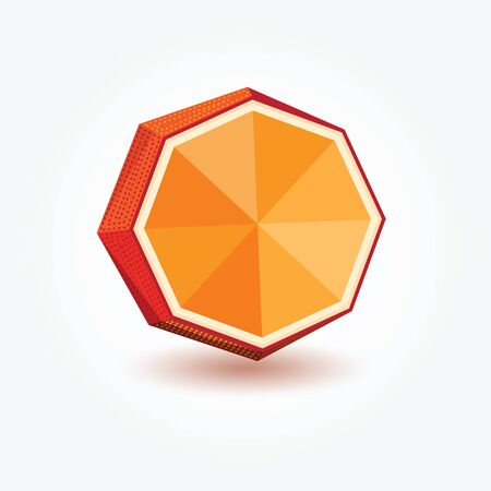 orange peel: Polygon orange, illustration of orange in polygonal technique for your design.