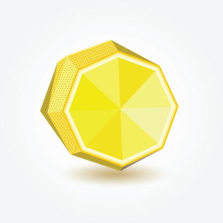 bisected: Polygon lemon, illustration of lemon in polygonal technique for your design. Illustration