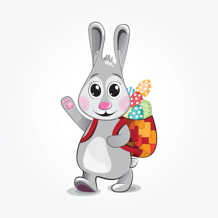 gladness: Easter bunny carry colorful eggs in his backpack. illustration. Illustration