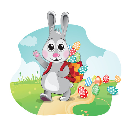 Easter bunny carry colorful eggs in his backpack. illustration. Illustration