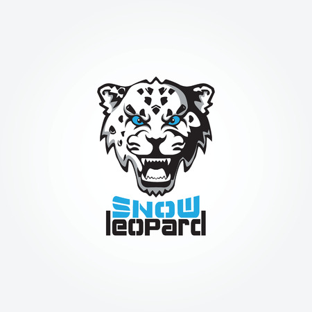 snow leopard: Snow Leopard mascot vector illustration. The head of the evil snow leopard.