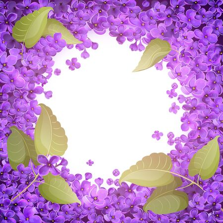 The entire space of the leaf is covered with small flowers of lilac, with the exception of the white circle in the center. Frame for text, greetings and cards.