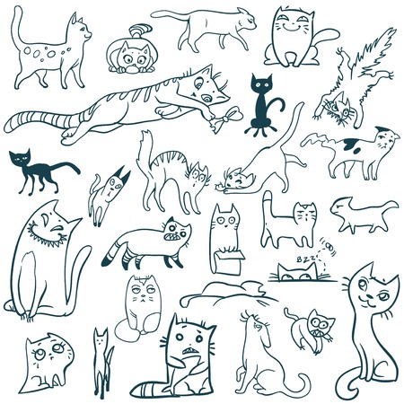 Set f cats doodle  Vector