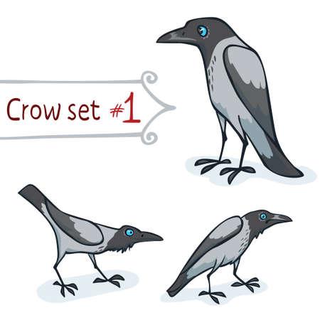 encapuchado: Dise�o de personajes Cuervo encapuchado ajustado n�mero 1 ilustraci�n vectorial