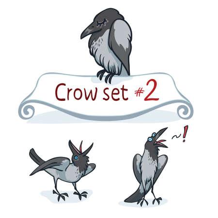 corvus: Hooded crow character design set number Illustration