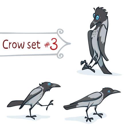 corvus: Hooded crow character design set number