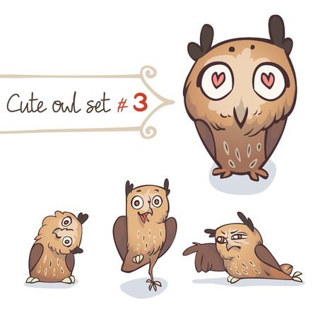 Cute cartoon little owls set  Character design  Vector illustration