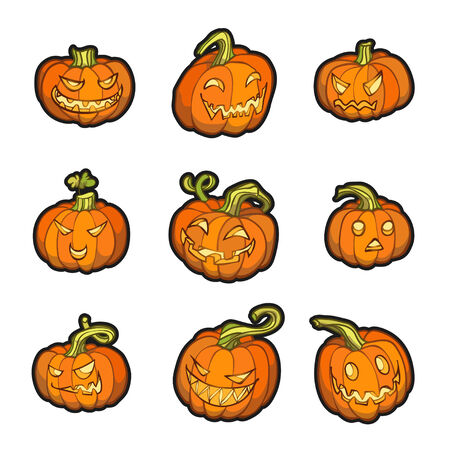 Set of 3 halloween pumpkins.  Vector illustration, EPS 10. Contains transparent objects Vector
