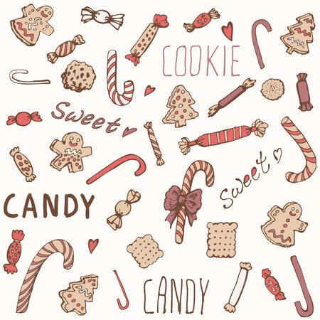 Sweet candy and cookies set. Vector illustration, EPS 10. Vector