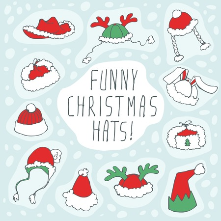 Chtristmas funny hats set. Vector illustration, EPS 10. Vector