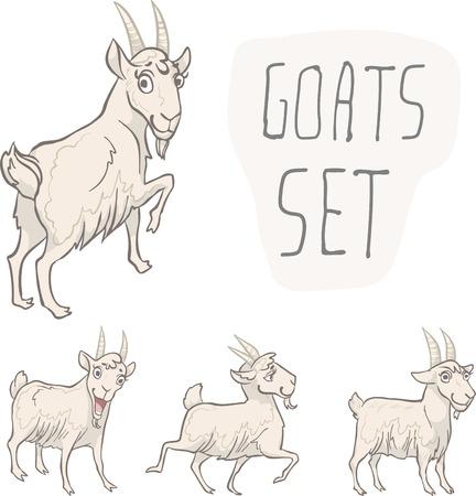 character design: Conjunto de 4 caracteres cabras. Dise�o de personajes. Ilustraci�n del vector, EPS 10. Contiene objetos transparentes