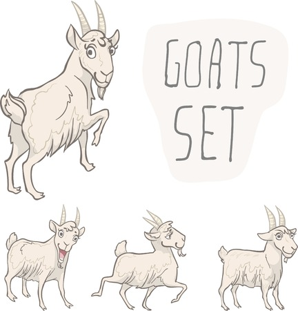 Set of 4 characters goats. Character design. Vector illustration, EPS 10. Contains transparent objects Vector