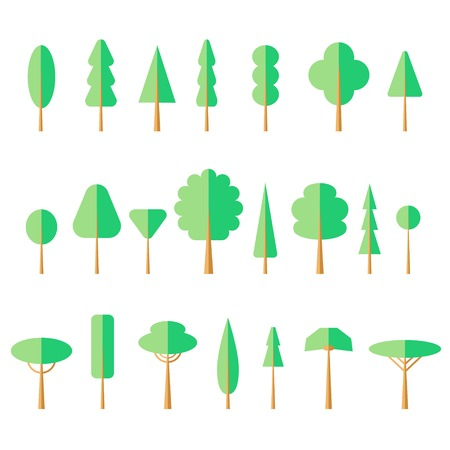 Set of flat tree icon. Vector illustration, EPS 10. Contains transparent objects Vector