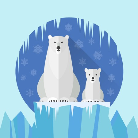 cute bear: Adult Polar Bear and baby Polar Bear against the snow and ice Illustration