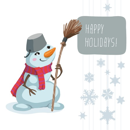 Snowman wearing a scarf and a bucket, holding in his hand broom. Vector
