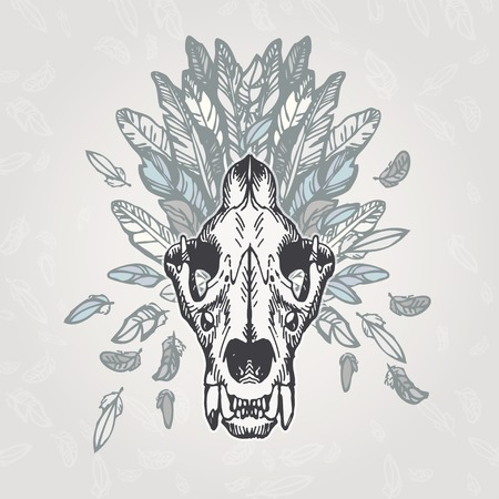 plumage: Lion skull on a plumage background. Contains transparent objects