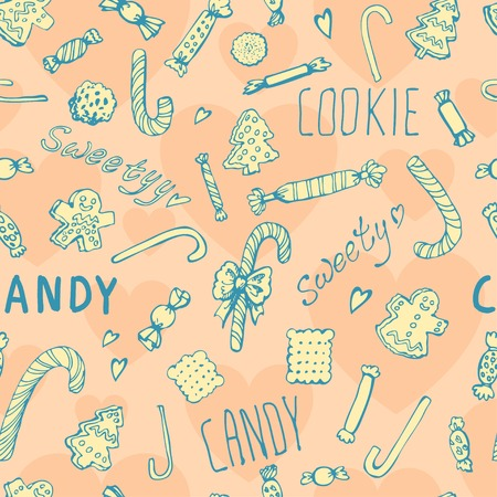 Candy, cookies and bows cute seamless pattern.