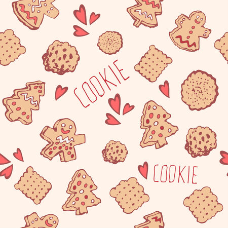 indulgence: Candy, cookies and bows cute seamless pattern.