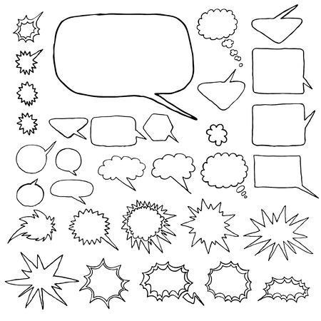 love dynamite: Set of hand-drawn elements: frames, bubbles, splashes. Illustration