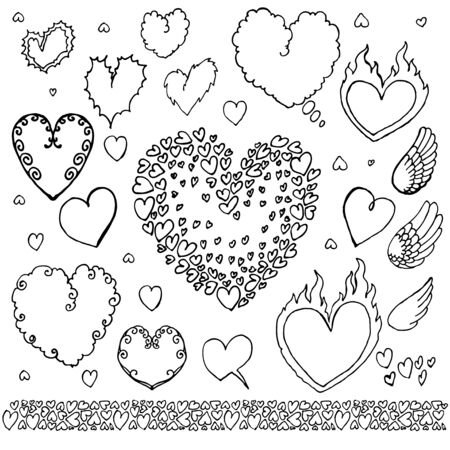 Set of hand-drawn elements: heart and wings. Vector