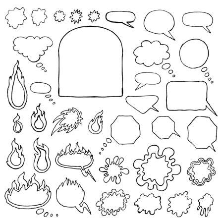 Set of hand-drawn elements -  frames, bubbles, splashes, spots. Vector