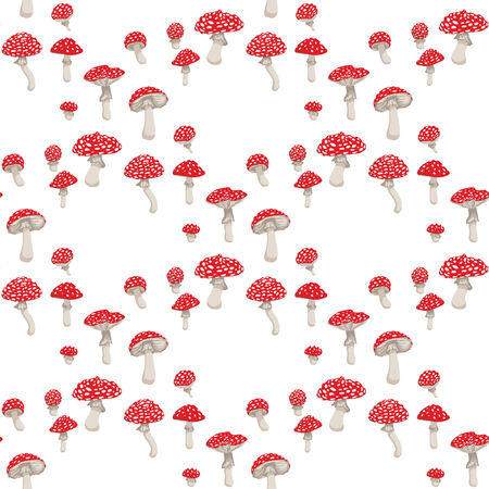 a fly agaric: Fly agaric mushrooms seamless pattern, in color.