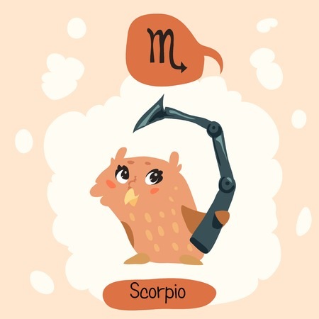 cartoon scorpion: Colored cute owl horoscope: Scorpio, the Scorpion Illustration