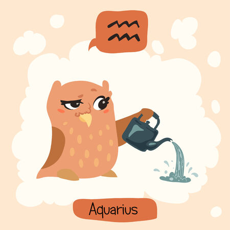 waterbearer: Colored cute owl horoscope: Aquarius, the Water-bearer Illustration