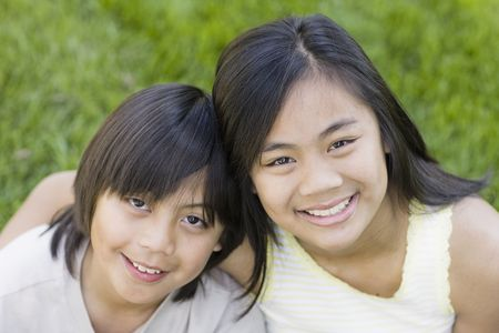 Close Up Portrait of Asian Brother and Sister