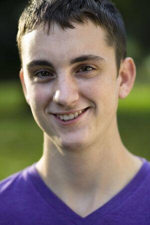 Portrait of a Teen Boy in a Park Zdjęcie Seryjne