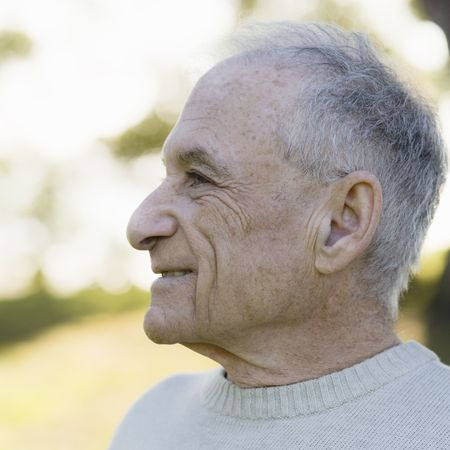 Profile of An Old Man Outdoors Stock Photo - 6043423