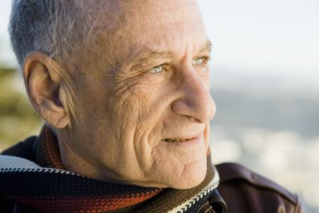 Profile Of A Senior Man Looking Out to Sea Stock Photo - 6043427