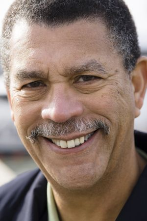 Portrait of a Smiling African American Man Outdoors Stock fotó