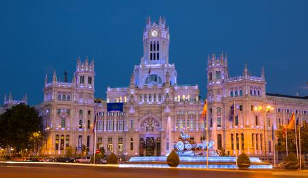 plaza de la cibeles: Anochecer, Plaza de la Cibeles de Madrid, Espa�a Editorial