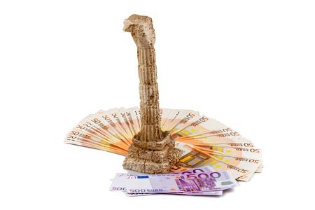 ギリシャ危機、grichischer 列とユーロ紙幣 写真素材