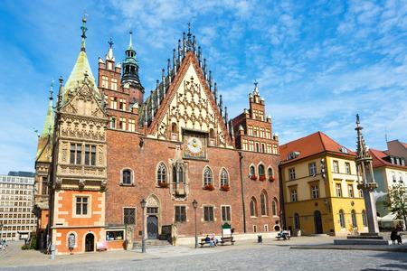 ポーランドのヴロツワフ市役所旧市街 写真素材