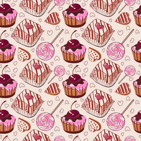 pastries: Sweet pattern with cakes. Vector illustration