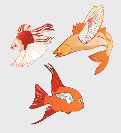 Fantastic Flying Fish. Vector illustration Stock Vector - 10788287