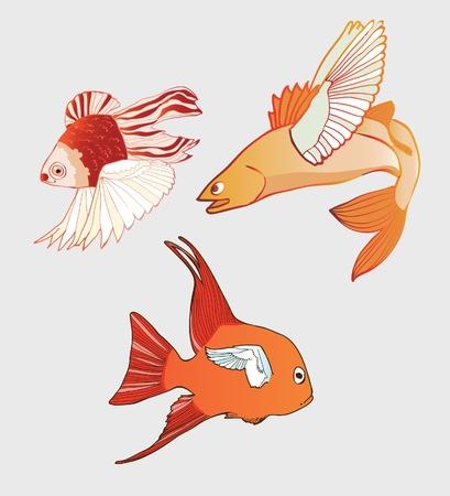 Fantastic Flying Fish. Vector illustration Illustration