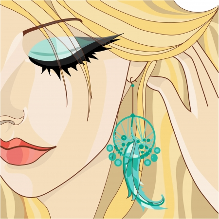 Girl with Earring. Vector illustration