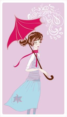 Girl in rain. Vector illustration Stock Vector - 10788289