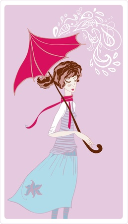 rainy season: Girl in rain. Vector illustration Illustration