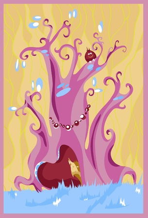 magical forest: Purple fairy tree. Vector illustration
