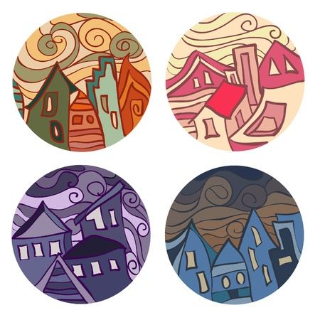 morning noon and night: Medals with houses. Vector illustration