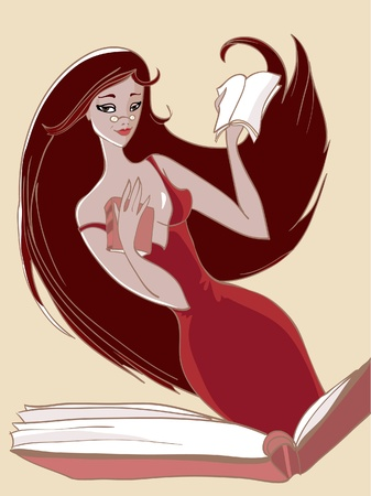 Time to read. Librarian illustration Vector