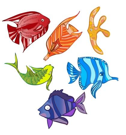 Rainbow emotional fish illustration
