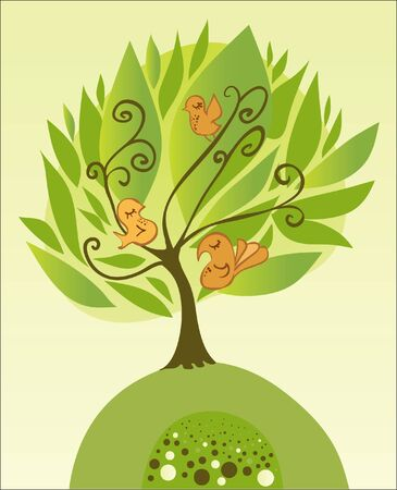 Tree with birds illustration Stock Vector - 11433021