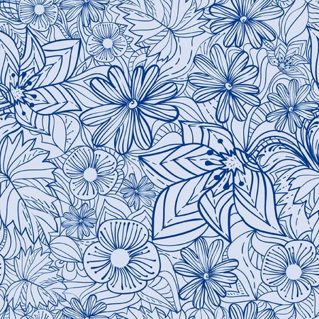 Blue floral pattern illustration 向量圖像